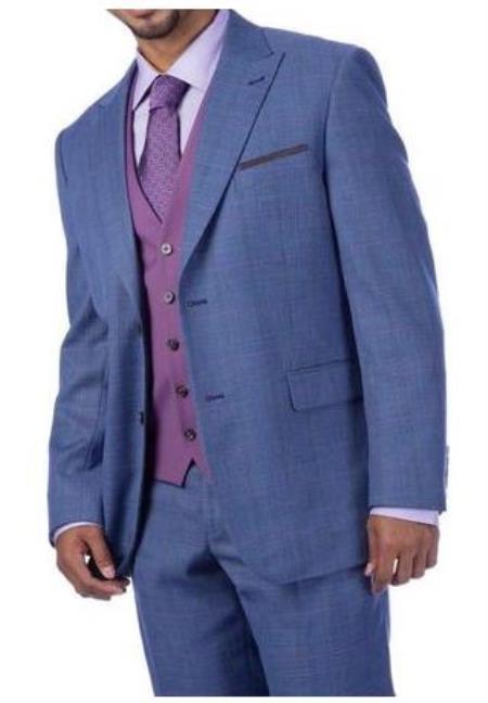 Harvey Suit - Vested fashion Suit- Wool Fabric Suit Mens Steve Harvey Light Blue Plaid 2 Button Suit 219711