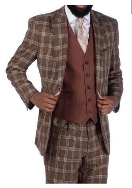 Steve Harvey Suits - Vested fashion Suit- Wool Fabric Suit Men's Steve Harvey Brown Plaid 2 Button Suit 219708