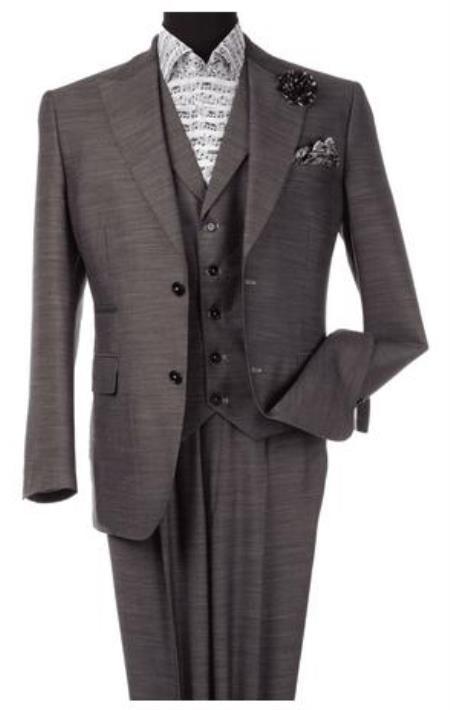 Harvey Suit - Vested fashion Suit- Wool Fabric Suit Mens Steve Harvey Gray 2 Button Suit 120800