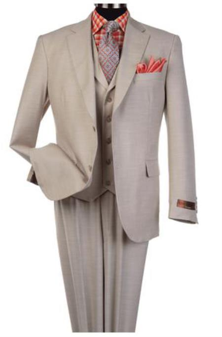 Harvey Suit - Vested fashion Suit- Wool Fabric Suit Mens Steve Harvey Tan 2 Button Suit 120802