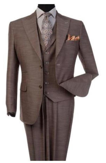 Steve Harvey Suits - Vested fashion Suit- Wool Fabric Suit Men's Steve Harvey Light Brown 2 Button Suit 120803