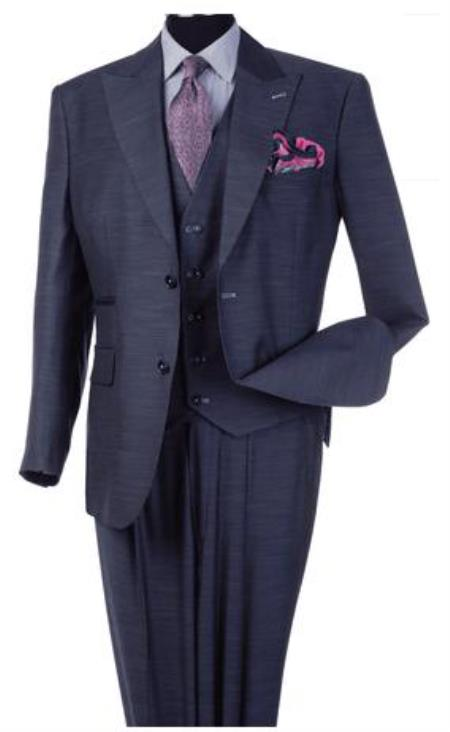 Steve Harvey Suits - Vested fashion Suit- Wool Fabric Suit Men's Steve Harvey Blue Peak Lapel Jacket Two Button Suit 120801