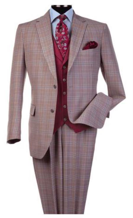 Steve Harvey Suits - Vested fashion Suit- Wool Fabric Suit Men's Steve Harvey Burgundy Peak Lapel Jacket Two Button Suit 120804