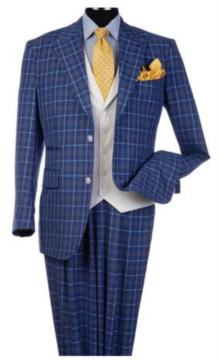 Steve Harvey Suits - Vested fashion Suit- Wool Fabric Suit Men's Steve Harvey Blue Peak Lapel Jacket Suit 120805