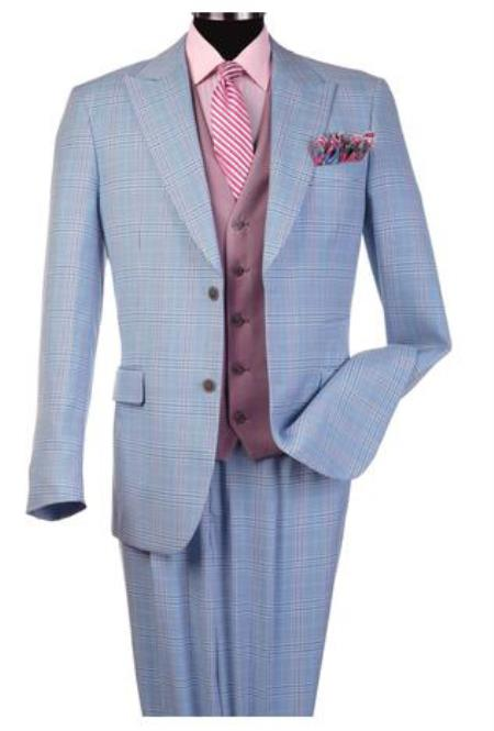 Steve Harvey Suits - Vested fashion Suit- Wool Fabric Suit Men's Steve Harvey Light Blue Peak Lapel Jacket Suit 120807