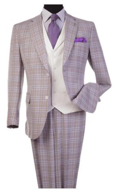 Harvey Suit - Vested fashion Suit- Wool Fabric Suit Mens Steve Harvey Lavender Plaid Pattern Suit 120809