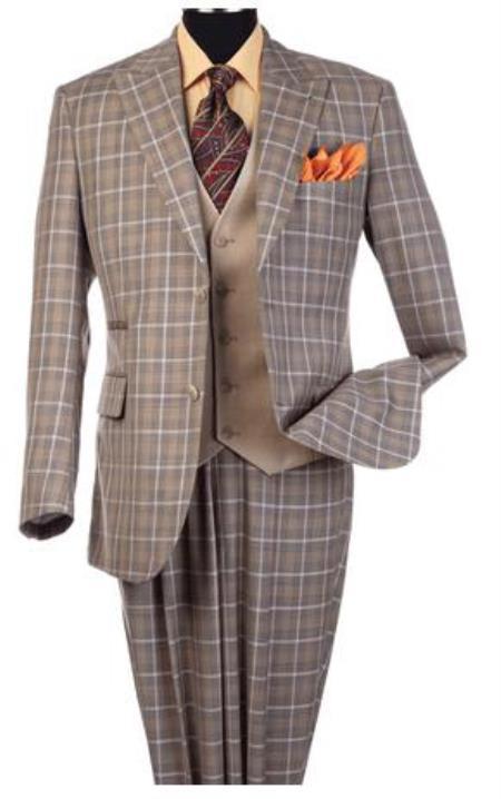 Steve Harvey Suits - Vested fashion Suit- Wool Fabric Suit Men's Steve Harvey Taupe Plaid Pattern Suit 120810