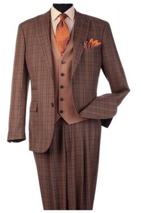 Harvey Suit - Vested fashion Suit- Wool Fabric Suit Mens Steve Harvey Light Rust Plaid Pattern Suit 120814