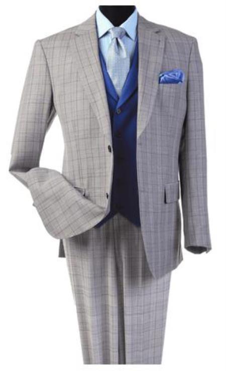 Harvey Suit - Vested fashion Suit- Wool Fabric Suit Men's Steve Harvey Light Gray Plaid Pattern Suit 120815