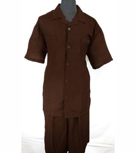 Men's Five Button PJ Collar Dark Brown Side Vent Shirt Walking Leisure Suit