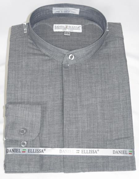 Grey 2-Button cuff Banded Collar Dress Shirt