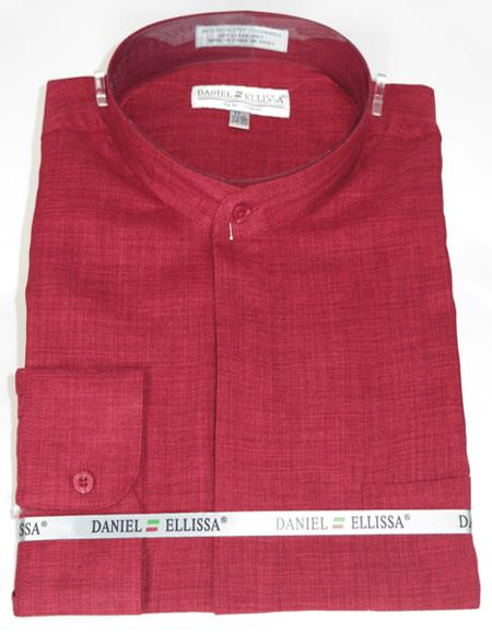 Burgundy Mandarin Long sleeve dress shirt