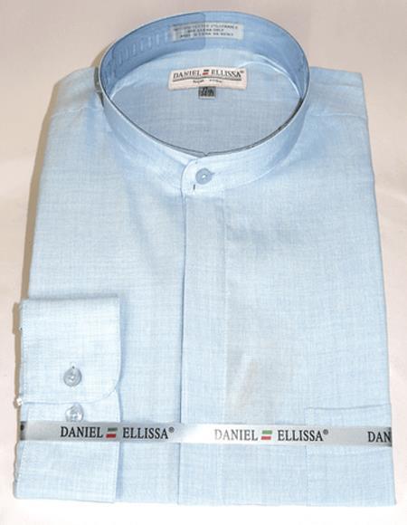 Blue Banded Collar Polyester Dress Shirt