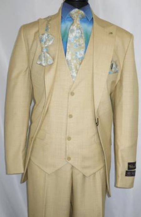 Falcone Suit Brand - Mens Toast Gold Floral Vest Suit Tie Set 5540-028
