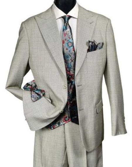 Falcone Suit Brand - Mens Light Tan Suit Paisley Vest Tie Set Frank 5540-048