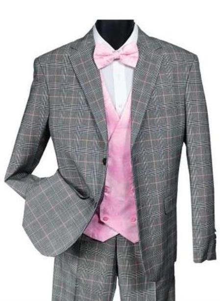 Falcone Suit Brand - Mens Black Pink Plaid Suit Paisley Vest Bay 9214-710