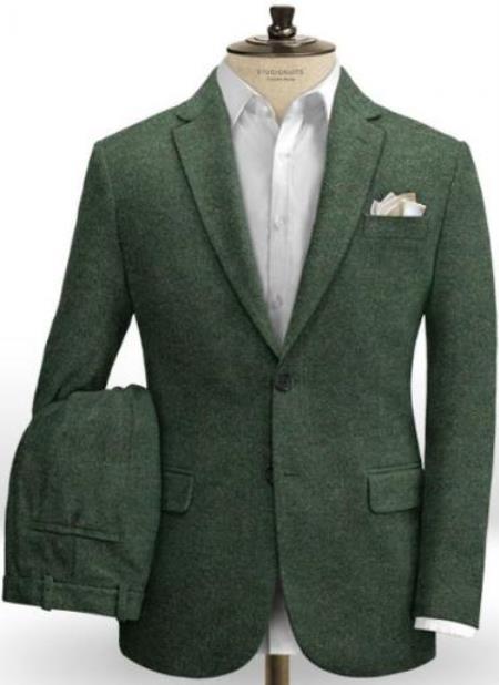 Emerald Green Herringbone Tweed Suit - Slim Fit Suit