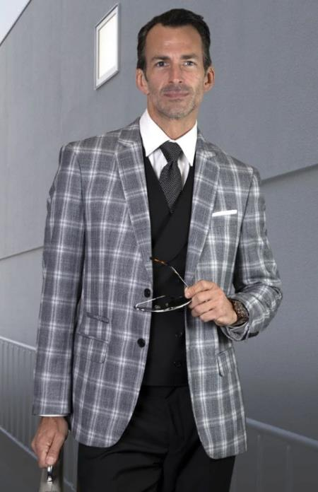 Plaid Suit - Windowpane Suit + Wool Suit + Black
