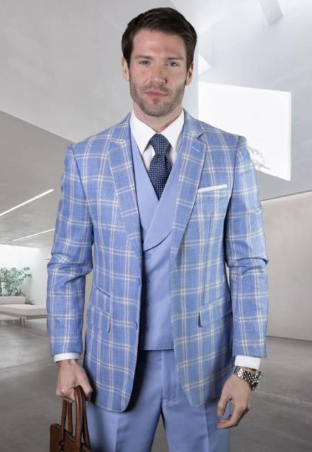 Plaid Suit - Windowpane Suit + Wool Suit + Blue
