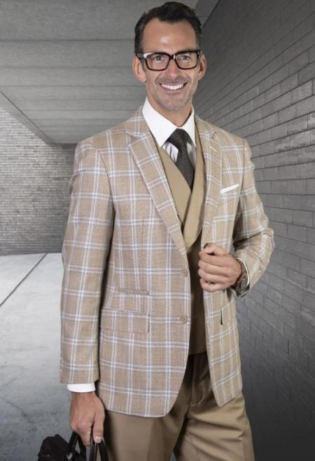 Plaid Suit - Windowpane Suit + Wool Suit + Camel