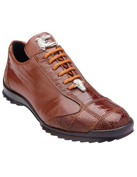 Belvedere Mens Honey Ostrich Sneaker