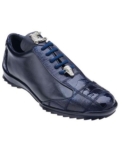 Belvedere Men's Blue Ostrich Sneaker