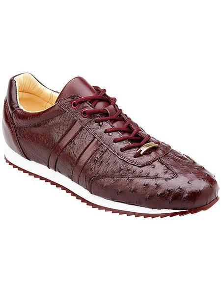 Belvedere Men's Burgundy Ostrich Sneaker