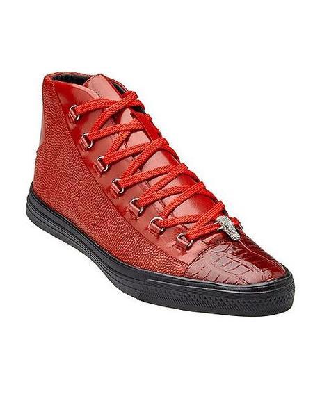 Belvedere Mens Red Exotic Sneaker
