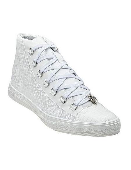 Belvedere Men's White Exotic Sneaker
