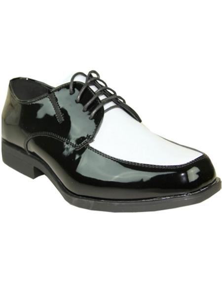 Mens Black and White Vangelo Tuxedo Shoes