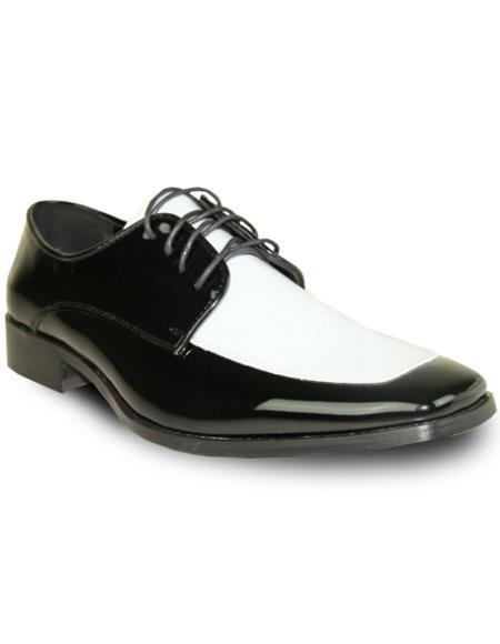Mens Black and White Vangelo Tuxedo Shoes