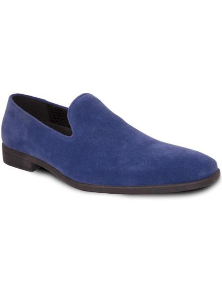 Men's Blue Suede Tuxedo Shoes