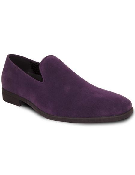Men's Purple Suede Tuxedo Shoes