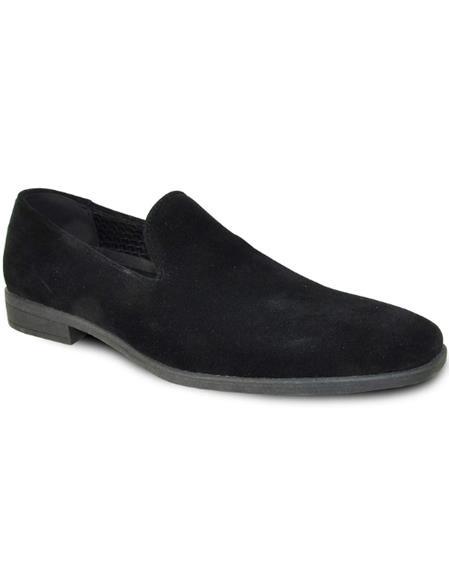 Men's Black Suede Tuxedo Shoes