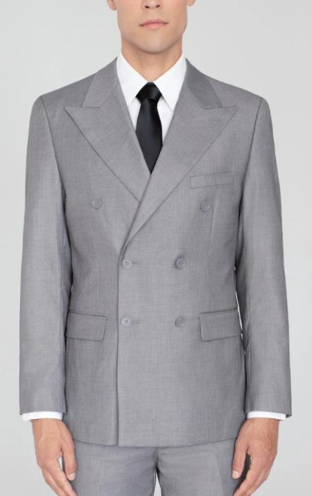 Men's Light Grey Double Breasted Suit Wide Label Suit