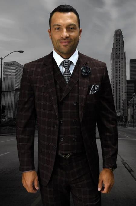 Statement Men's Wool Fashion Suit - Plaid Windowpane Modern Fit Brown