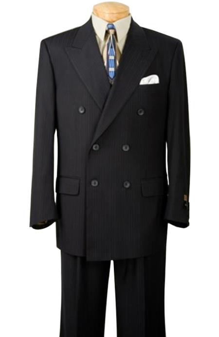 Conservative Double Breasted Dark Navy Blue Suit For Men Thin Small Pinstripe Mens Suit Side Vents $175 (Wholesale price $95 (12pc&UPMinimum))