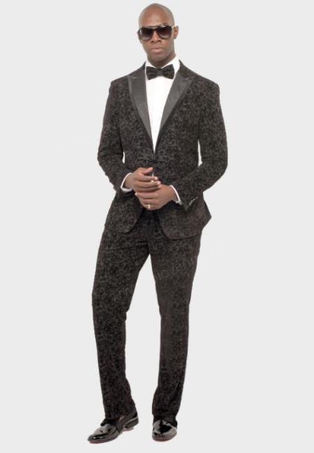 Black Paisley Suit - Black Floral Suit - Slim Fit Suit