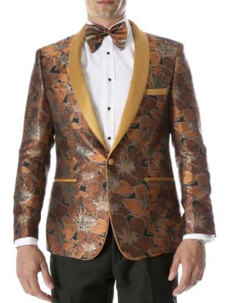 Rust - Copper - Orange Floral Blazer - Fancy Blazer