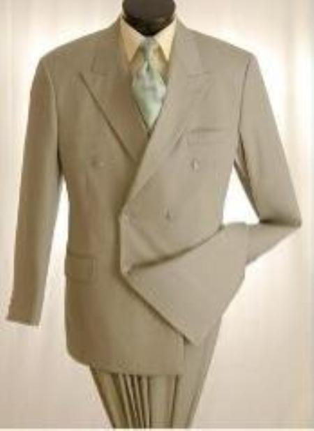 SKU#Emil_B662 2pc MENS SHARP Double Breasted DRESS SUIT Light Taupe (Mocha~greenish color with some $125