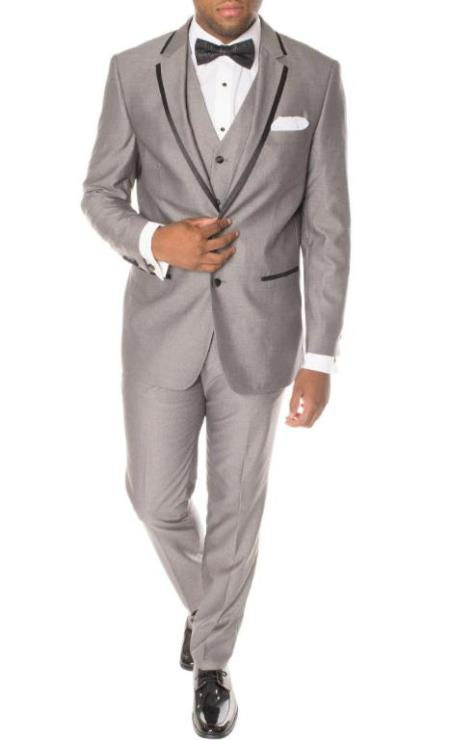 Prom Tuxedo - Wedding Tuxedo Celio Grey and Black 3-Piece Slim Fit Notch Lapel Tuxedo