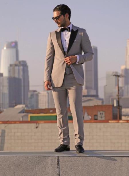 Prom Tuxedo - Wedding Tuxedo Luna Grey 3-Piece Slim Fit Peak Lapel Tuxedo