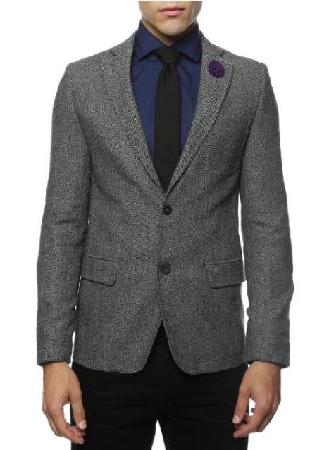 Black and White Tweed Blazer - Gray Herringbone Sport Coat - Slim Fit Men's Blazer