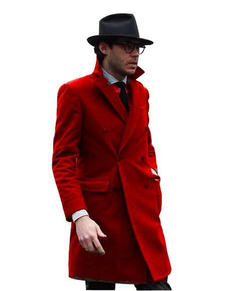 Double Breasted - Three Quarter Coat - Cashmere and Wool Topcoat + Style# Manhattan Hot Red