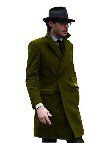 Double Breasted - Three Quarter Coat - Cashmere and Wool Topcoat + Style# Manhattan Dark Olive