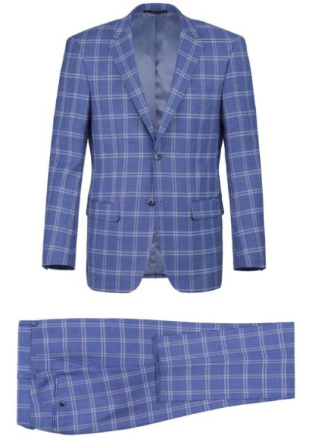 Renoir Marino Slim Fit Suit Style# Plaid Suit - Checkered Suit - Business Suit