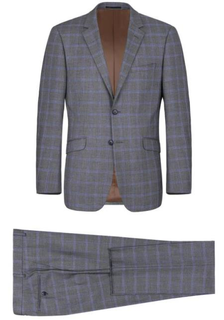 Renoir Marino Slim Fit Suit Style# Plaid Suit - Checkered Suit - Business Suit