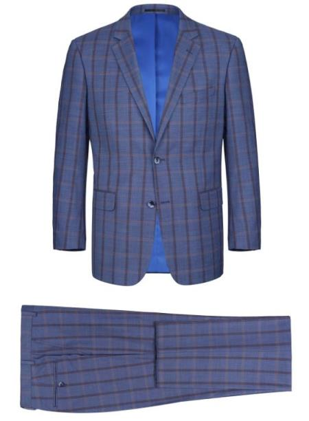 Renoir Tattaglia Classic Fit Suit Style# Plaid Suit - Checkered Suit - Business Suit