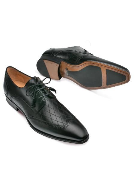 Mezlan Brand Mezlan Mens Dress Shoes Sale Mezlan Shoes Black Diamond Inlay Wingtip Shoes
