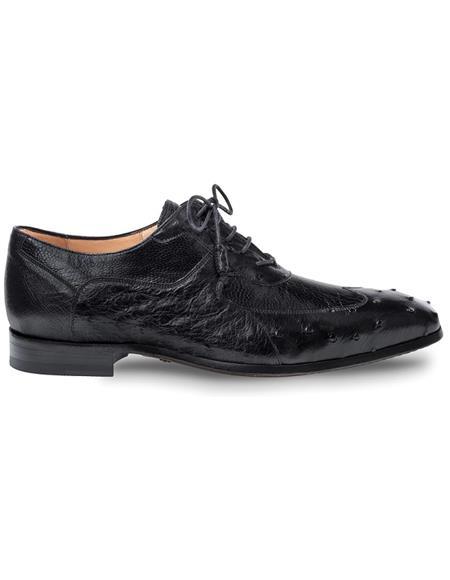 Mezlan Black Ostrich Quill and Ostrich Leg Shoes
